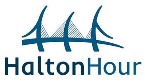#HaltonHour rectangle logo
