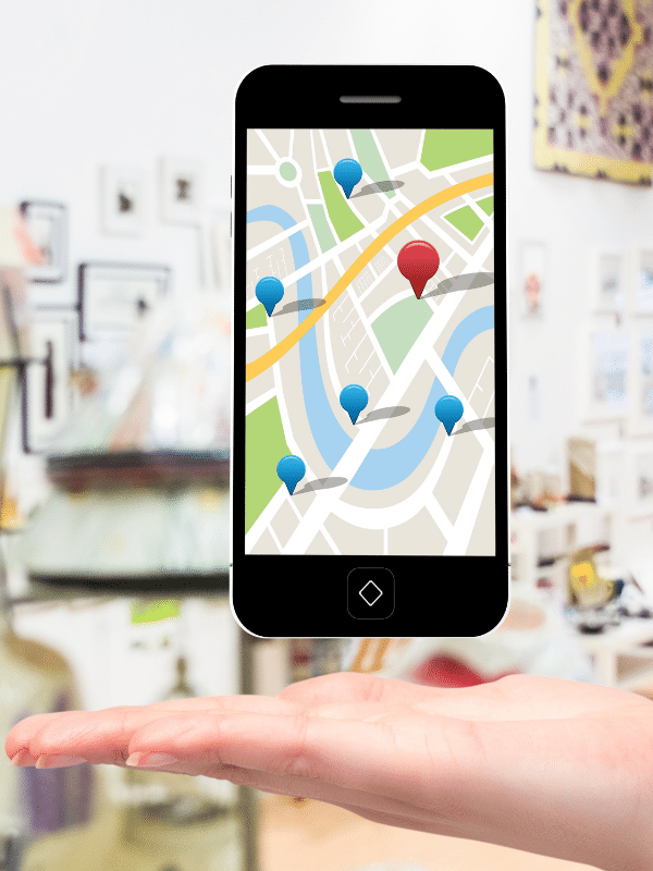 Mobile phone showing google map