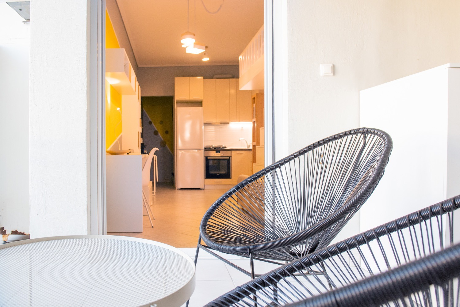 Terrace with view, outdoor furniture & washing machine