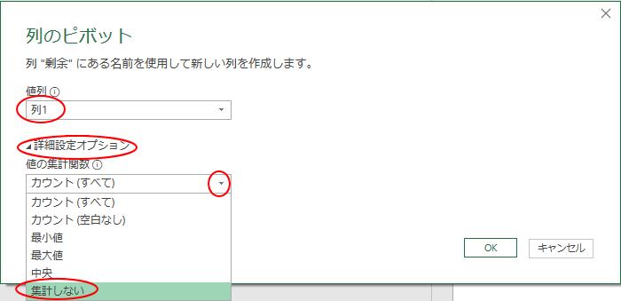 [列のピボット]ウィンドウ