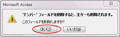 [○○フィールドを削除すると、主キーも削除されます。]メッセージウィンドウ