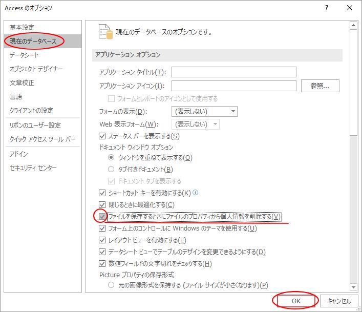 Accessのオプション 現在のデータベース