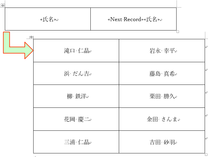 2列名簿の作成