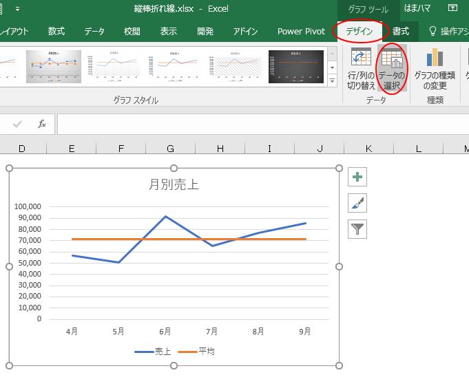 デザインタブのデータの選択