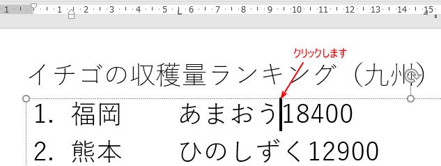 段落内の右端揃えにしたい位置でクリック