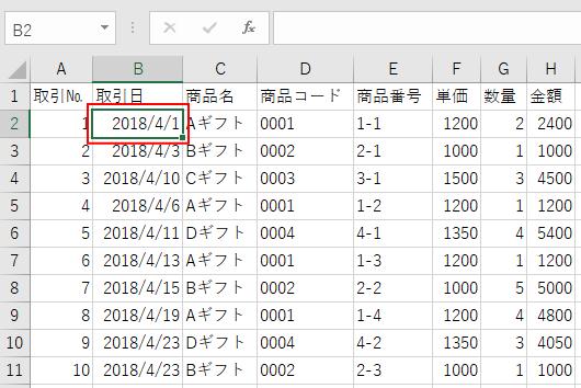 変更が反映されたデータ