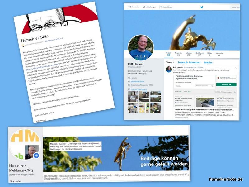 """Crossmedia: Den """"Hamelner Boten"""" gibt es auch auf Facebook und auf Twitter. Hintergründe zum Blog und den der ihn schreibt:"""