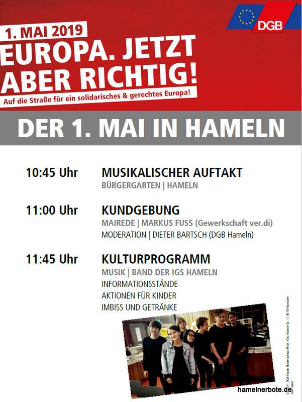 Maikundgebungen des DGB in Hameln – Einladung 2019 und Bilderrückblick ab 2010