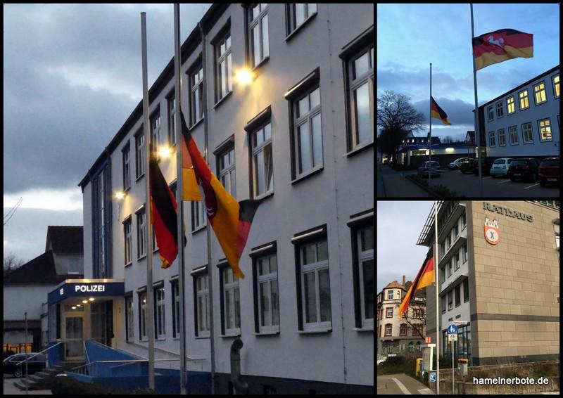 Hameln mit Halbmast. Solidarität mit Hanau.