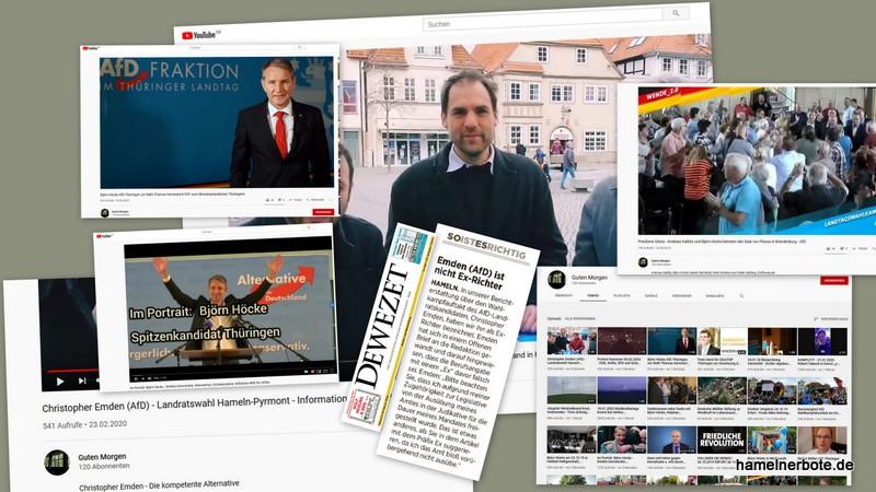 Hintergrundinfos zu zwei Veröffentlichungen des AfD-Kandidaten Herrn Emden im Landratswahlkampf.