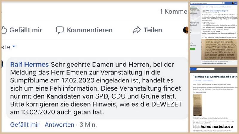 Fehlmeldung zur Podiumsdiskussion in der Sumpfblume – Korrektur erfolgt, von der AfD aber nicht übernommen.