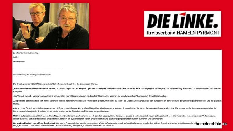 Die Kreistagsfraktion DIE LINKE zeigt sich tief betroffen und entsetzt über die Ereignisse in Hanau.