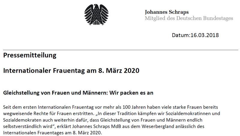 Pressemitteilung der SPD / MdB J. Schraps: Internationaler Frauentag am 8. März 2020