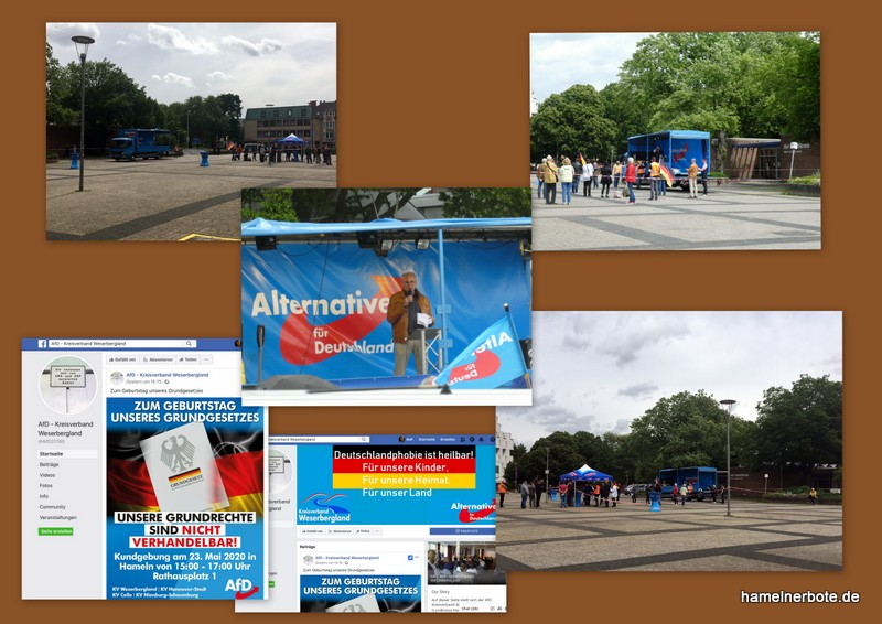 """AfD: """"Zum Geburtstag unseres Grundgesetzes"""" – Kundgebung auf dem Rathausplatz in Hameln am 23.05.2020"""