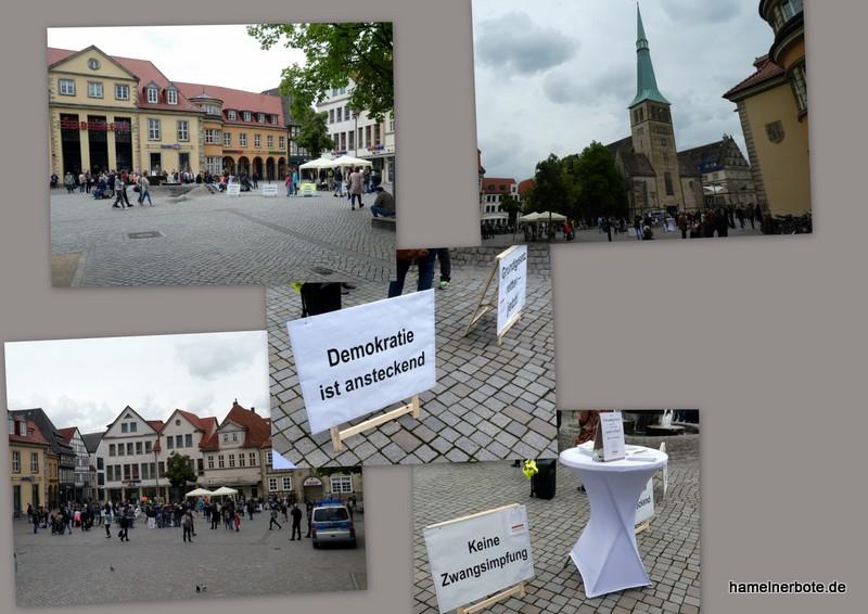 """""""Hygienekundgebung"""" am 23.05.2020 in Hameln. Persönliche Beobachtungen vom Pferdemarkt in Hameln."""