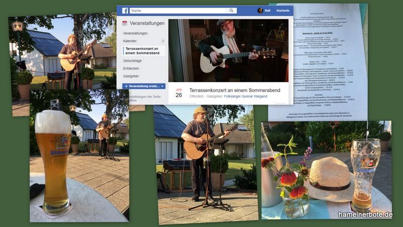 Verlaufsbericht: Terrassenkonzert an einem Sommerabend. Okal-Cafe mit Gunnar Wiegand (Empfehlung!)