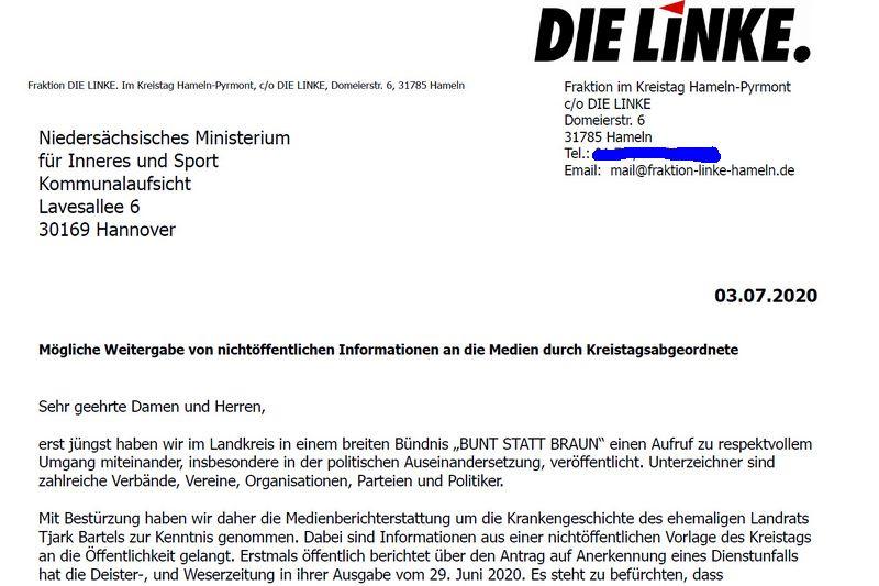 Pressemitteilung der Fraktion DIE LINKE. im Kreistag mit Brief an die Kommunalaufsicht