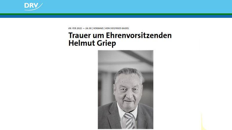 Helmut Griep verstorben. Der Deutsche Ruderverband trauert um seinen Hamelner Ehrenvorsitzenden.