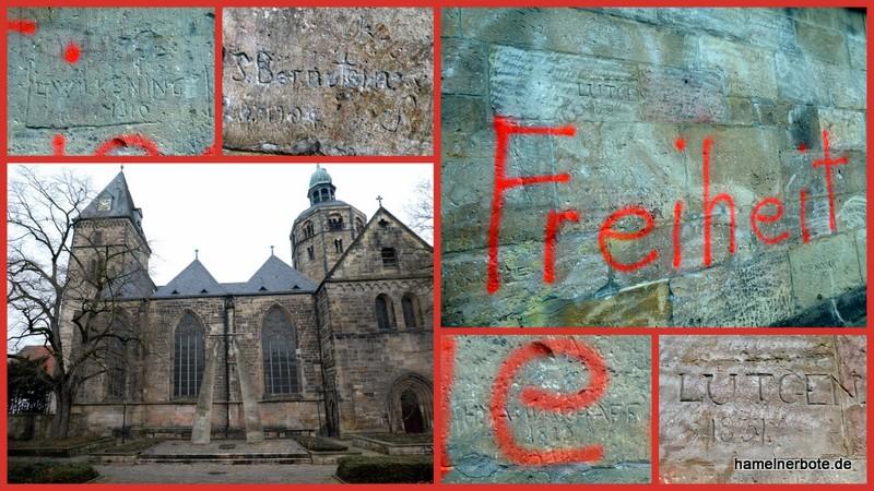 Sprüh- und Kratzbeschädigungen am Münster ihn Hameln