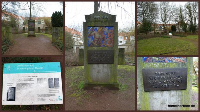 Das Denkmal für den Ersten Weltkrieg am 164er Ring.