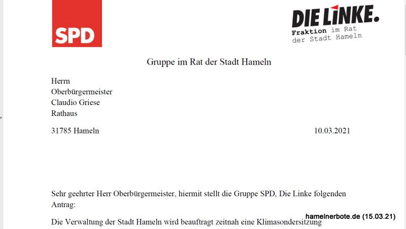 SPD beantragt Klimakonferenz für Hameln