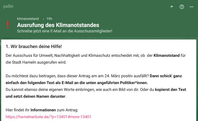 Klimanotstand für Hameln ausrufen! Ein Aufruf: