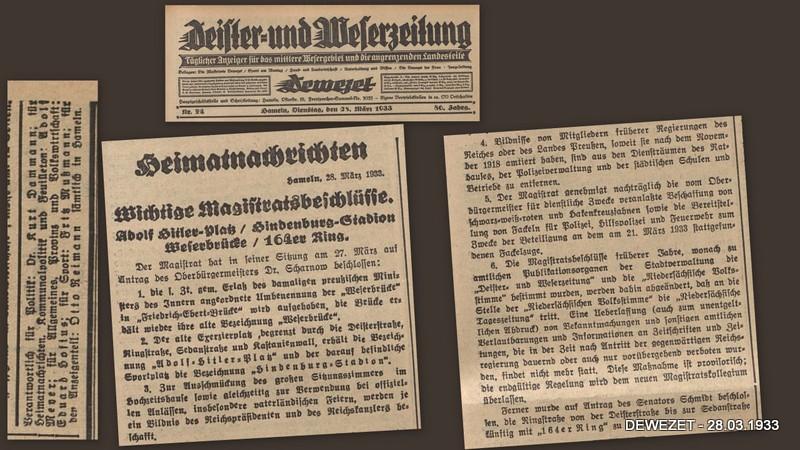 Wichtige Magistratsbeschlüsse vom 28.03.1933 – Hameln