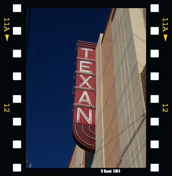 Texan Theater sign. Those power lines really made it hard to get a good sky shot.