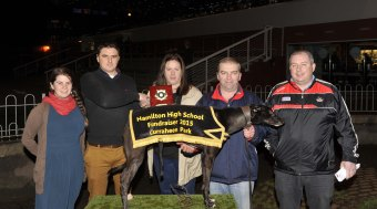 Ciaran Collins and Noelle Lynch making a presentation to Sandra O'Sullivan, Kilnamartra, following Sudoky Jayfkay's win in the Bandon Credit Union 525 at the Hamilton High School 75 th. Anniversary Race Night at Curraheen Park. Included are Patsy O'Sullivan and Dave Hannigan. Picture: Mike English