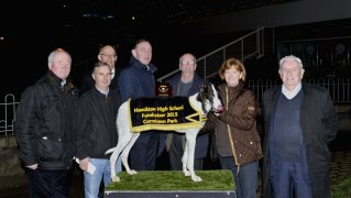 Michael O'Driscoll making a presentation to Michael O'Keeffe, Midleton, following Curragh Max's win in the Bandon Co-Op 525 at the Hamilton High School 75 th. Anniversary Race Night at Curraheen Park. Included are Eugene O'Brien, Acting Prinipal Hamilton High, Julie O'Keeffe, John o'Brien, John and Dave Herlihy. Picture: Mike English
