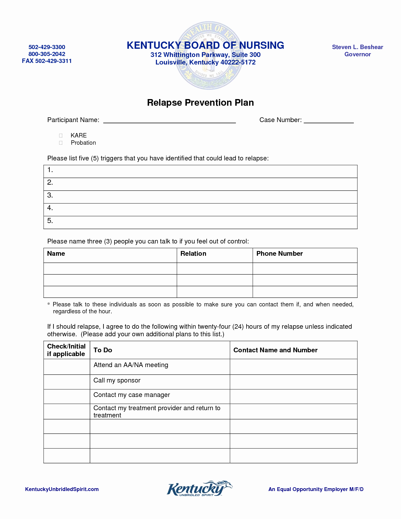 40 Relapse Prevention Plan Template