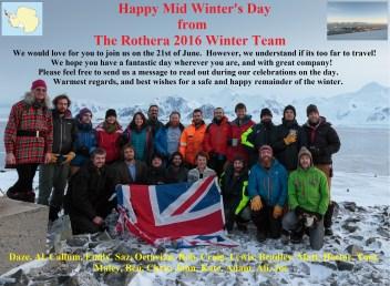 Rothera Mid-Winter greeting 2016