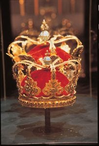 The absolutist crown on display in Rosenborg Palace