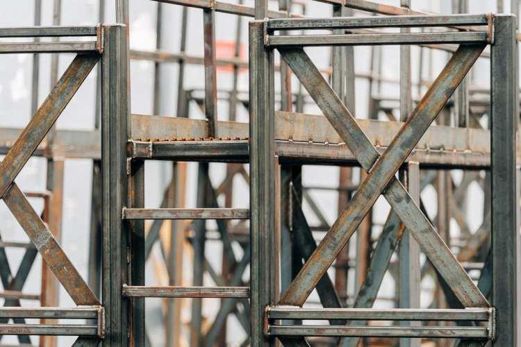 Steel intricate fabrication close up