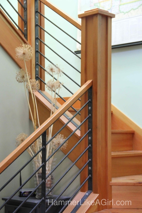 Staircase From Iron And Salvaged Wood Hammer Like A Girl   Barn Wood Stair Railing   Industrial   Farmhouse   Wood Plank   Entryway Stair   Upstairs