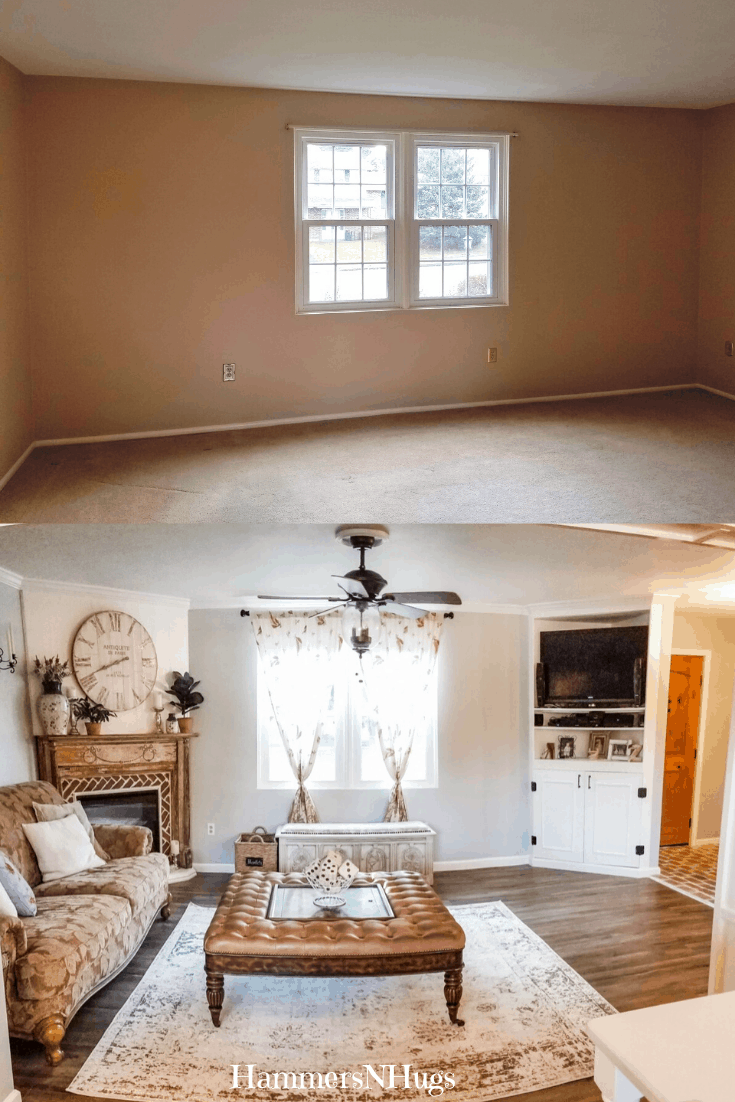 Before and After French Country Cottage Living Room Renovation