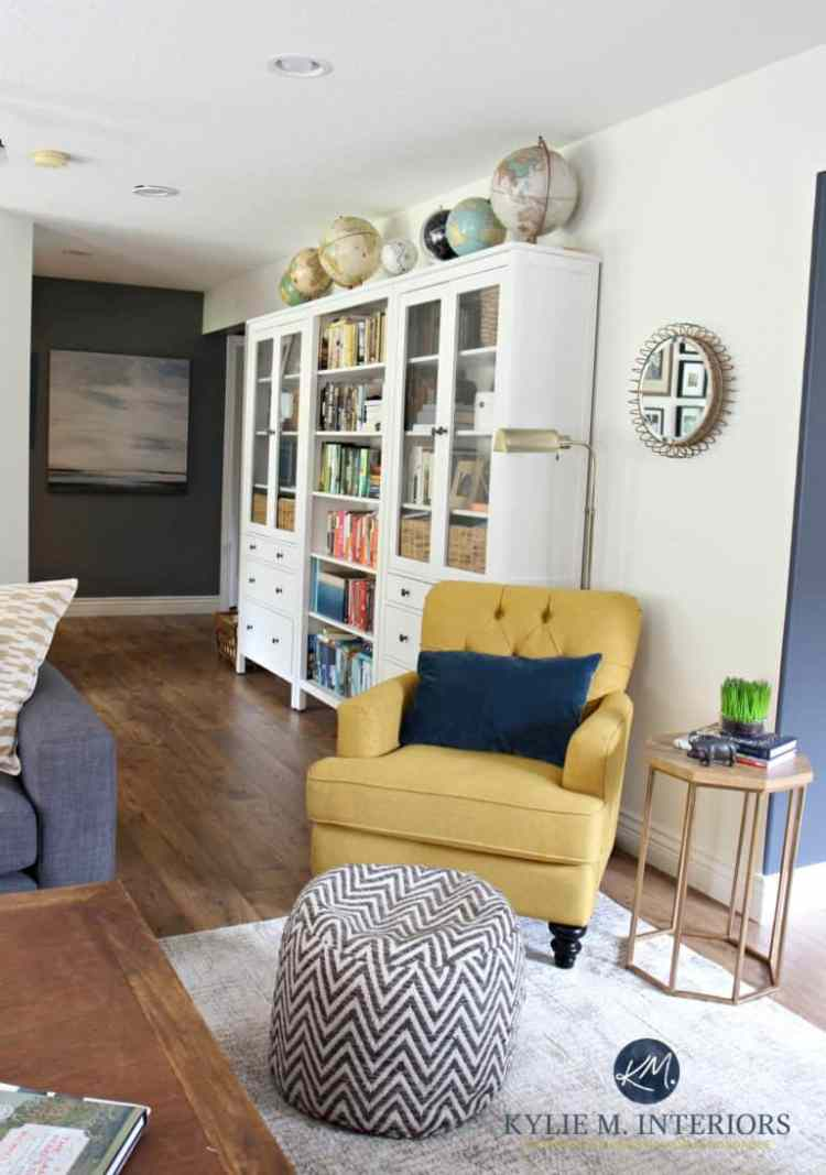 Ikea-Hemnes-bookcases-in-family-room-with-chartreuse-accent-chair.-Sherwin-Williams-Creamy-paint-color-and-home-decor.-Globe-collection.-Kylie-M-Interiors-E-design-768x1093