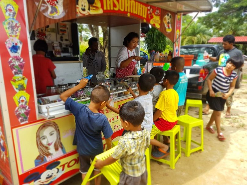 Kids waiting for treats at the food trucks