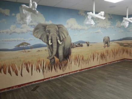 Mural with elephants.