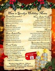 Ham'N Goodys Holiday Menu