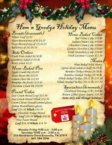 Ham'N Goodys Holiday Menu