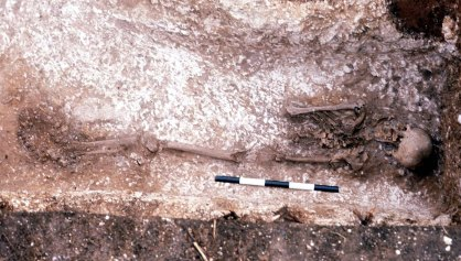 The Romano-British burial with hobnailed boots.