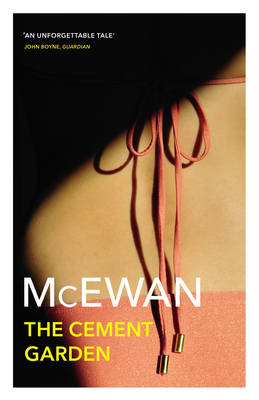 The image shows the book cover of The Cement Garden by Ian McEwan