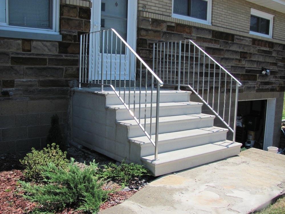 Hampton Concrete Products Precast Concrete Unit Steps7 | Building A Handrail For Concrete Stairs | Steel Handrail | Brick | Deck Railing | Outdoor Stair | Precast Concrete