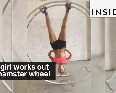 This girl works out with a giant hamster wheel - this girl works out with a giant hamster wheel