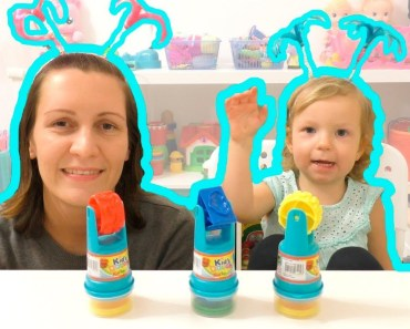 Funny educational video Cute baby and mommy kids pretend play with colored dough for children - funny educational video cute baby and mommy kids pretend play with colored dough for children