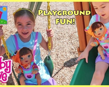 Funny kids Elsa & Anna Toddlers Play with Baby Alive Doll on Playground Swings Play Food Kitchen - funny kids elsa anna toddlers play with baby alive doll on playground swings play food kitchen