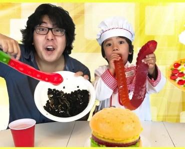 Gummy Food vs Real Food & Pizza Challenge - gummy food vs real food pizza challenge