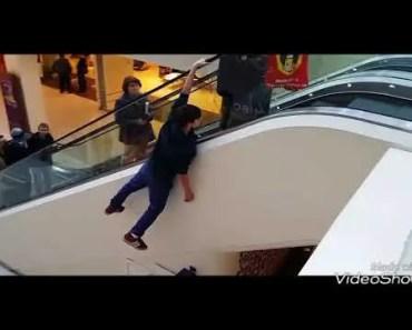 Funny kid going up Escalator (WolfyTubeHD) - funny kid going up escalator wolfytubehd