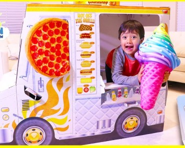 Ryan Pretend Play with cooking food truck playhouse - ryan pretend play with cooking food truck playhouse